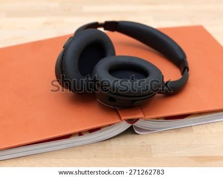 A close up shot of a pair of headphones - stock photo