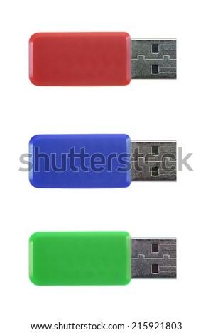 A close up shot of a USB stick - stock photo