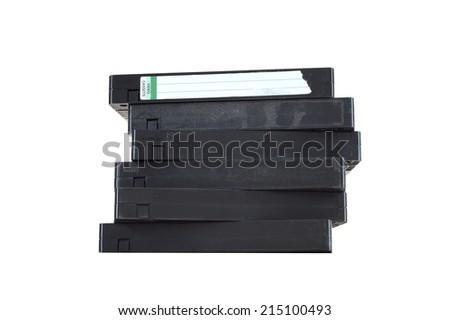 A close up shot of a video cassette - stock photo