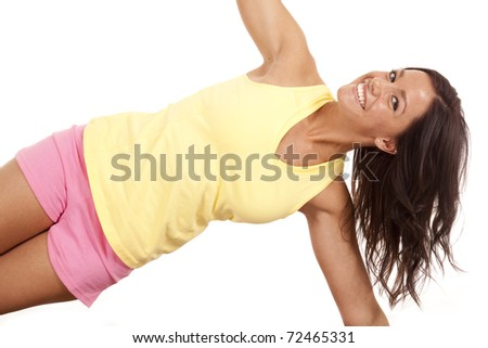A close up shot of a woman stretching. - stock photo