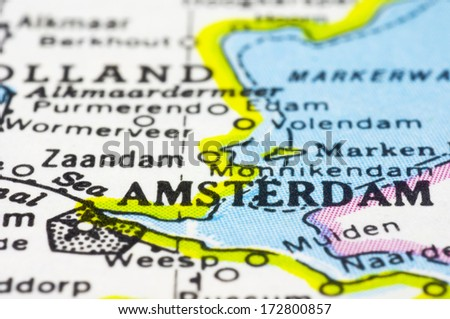 a close up shot of Amsterdam, capital of Netherlands. - stock photo