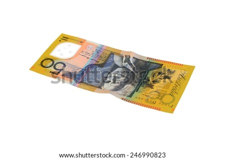 A close up shot of can Australian $50 note - stock photo