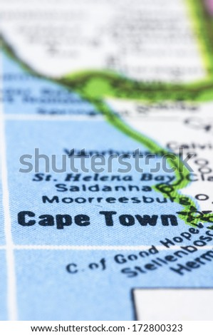 a close up shot of Cape Town on map, south africa. - stock photo