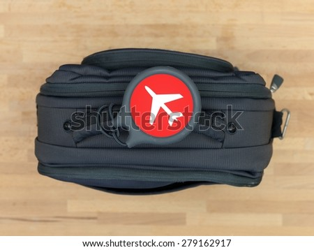 A close up shot of carry on luggage - stock photo