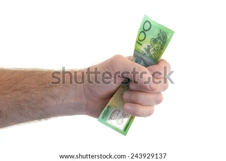 A close up shot of cash in hand - stock photo