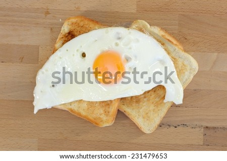 A close up shot of fried eggs - stock photo