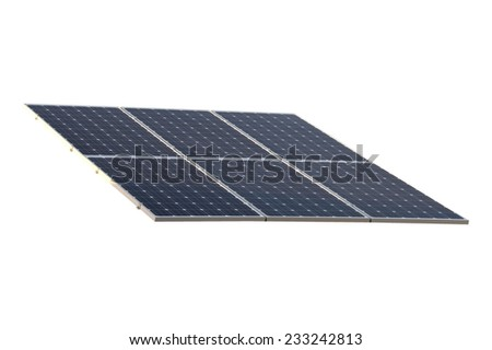 A close up shot of isolated solar panels - stock photo