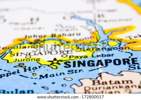 a close up shot of Singapore on map, asia. - stock photo