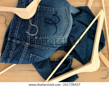 A close up shot of wooden clothes hangers - stock photo