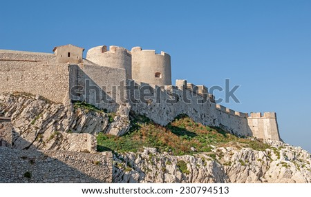 """A close view of the ancient castle """"Chateau dIf"""" near Marseille in South France - stock photo"""