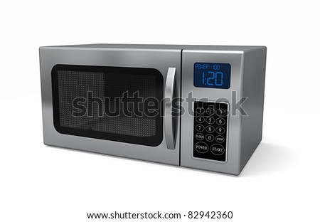 A closed microwave made of shiny metal isolated on a white background - stock photo