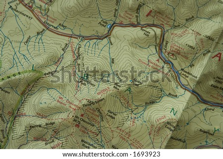 A closeup detailed picture of a topographic trail map - stock photo
