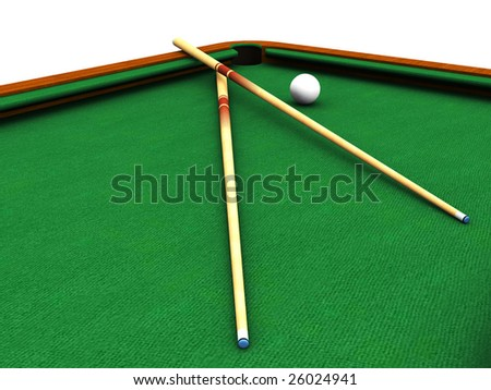 A closeup of a billiard table with a white ball and two cues. - stock photo