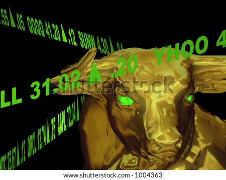 A closeup of a bull's head with green gaining stock tickers scrolling around it.  This represents a bull market or aggresive growth.  It is on a black background. - stock photo