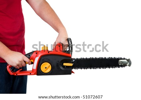 A closeup of a man holding a chainsaw. Isolated on a white background. - stock photo