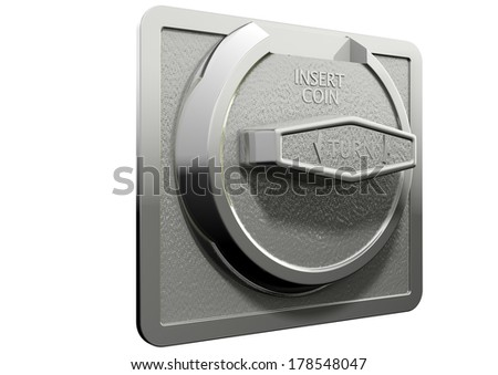A closeup of a metal coin slot from a coin operated machine with entry slot and a twisting knob on an isolated background - stock photo