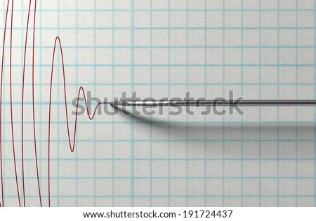 A closeup of a polygraph lie detector test needle drawing a red line on graph paper on an isolated white background - stock photo