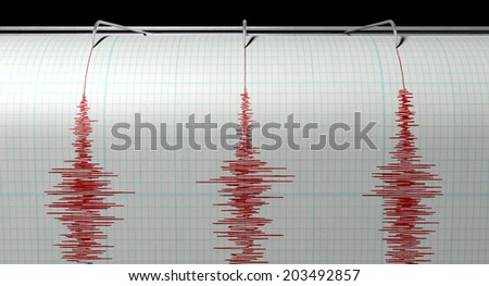 A closeup of a seismograph machine needle drawing a red line on graph paper depicting seismic and earthquake activity on an isolated white background - stock photo