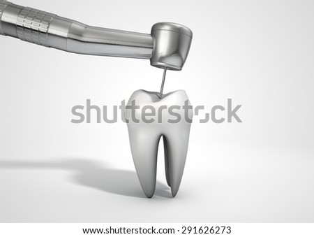 A closeup of a steel dentists drill probe performing an examination on a single  tooth on an isolated studio background - stock photo