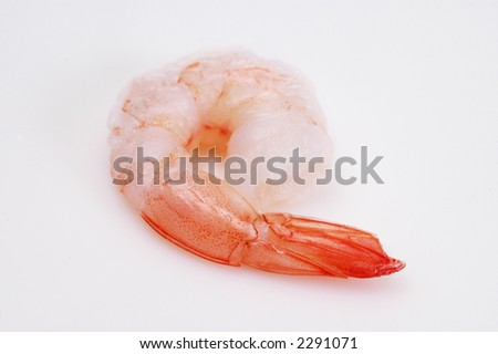 A closeup of shrimp on a white background. - stock photo