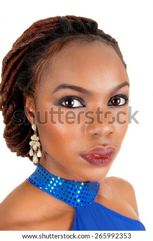 A closeup shoot of the beautiful face of a African American woman with