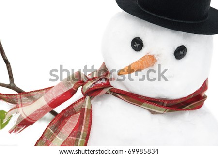 A closeup shot of a cute little snowman with a smiling face, selective focus on face, copy space - stock photo