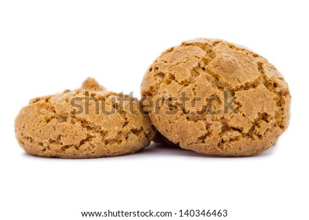 A closeup view of donut with amaretti biscuits - stock photo