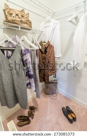 A clothing closet, working closet, cupboard in bedroom. - stock photo