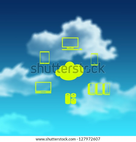 a Cloud Computing diagram as concept - stock photo