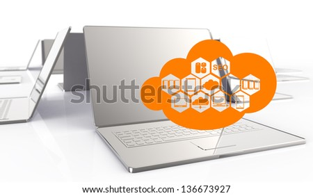 a Cloud Computing diagram on the new computer interface as concept - stock photo