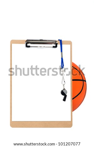 A coach's clipboard with blank sheet of paper, whistle and pencil rests against a basketball and is isolated on white.  Designers can place copy on the blank sheet of paper. - stock photo
