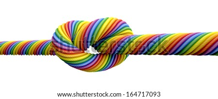 A coarse rope in the colors of the homosexual flag with a knot tied in the middle on an isolated background - stock photo