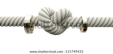 A coarse rope with a knot tied in the middle threaded through two wedding rings attached to either side on an isolated background - stock photo