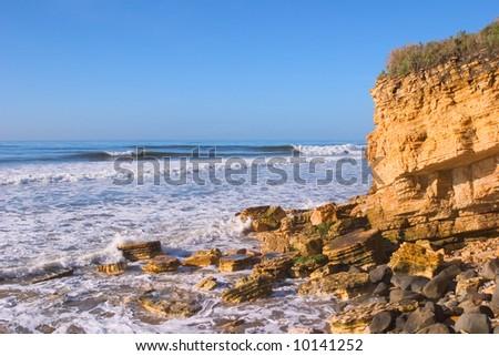 A coastal sunrise in California. - stock photo