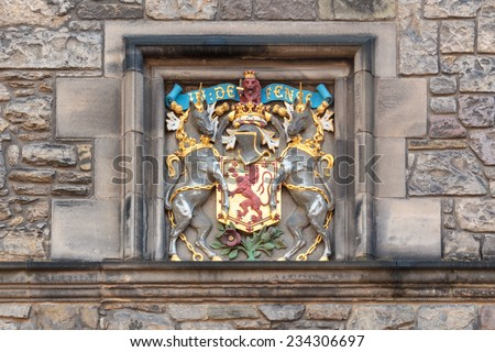 A coat of arms detail in Edinburgh castle - stock photo