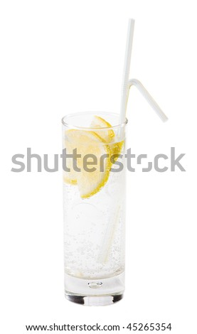 A cocktail with an lemon on a white background - stock photo