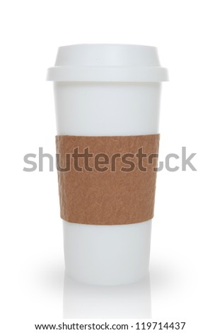 A coffee cup over a white background - stock photo