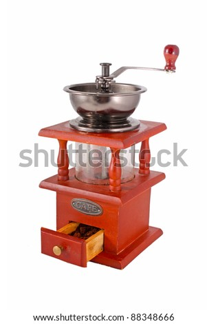 a coffee mill isolated on white - stock photo