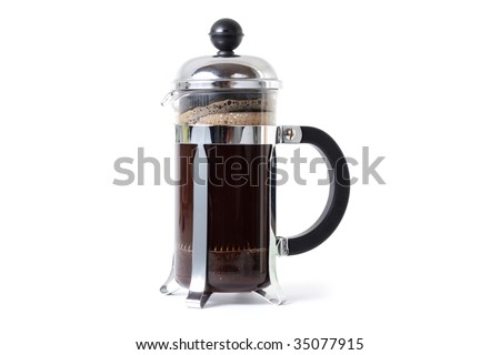 A coffee press isolated in a studio - stock photo