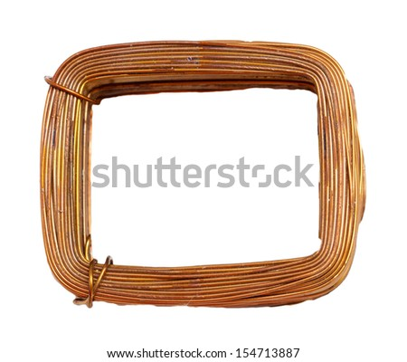a coil of copper wire on a white background - stock photo