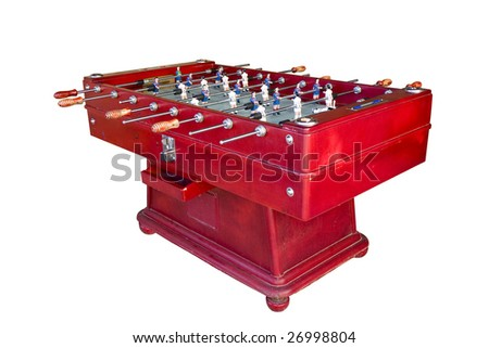 A coin-operated Catalan football table isolated on white - stock photo