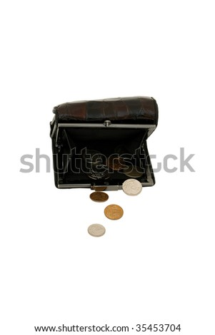 A coin purse spills out its last few rubles. - stock photo