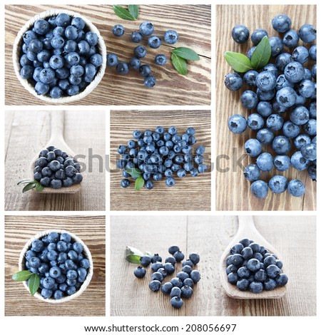 A collage about blueberries fruits - stock photo