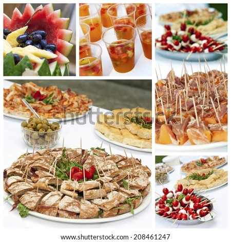 A collage of appetizers photos - stock photo