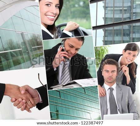 A collage of business professionals at work - stock photo