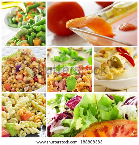 a collage of different salads, such as pasta salad or lentil salad, and eggs mimosa and gazpacho - stock photo