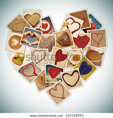 a collage of different snapshots of hearts and heart-shaped things, forming a heart, with a retro effect - stock photo