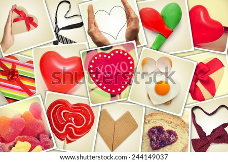 a collage of different snapshots of hearts and heart-shaped things shot by myself, simulating a wall of snapshots uploaded to social networking services - stock photo