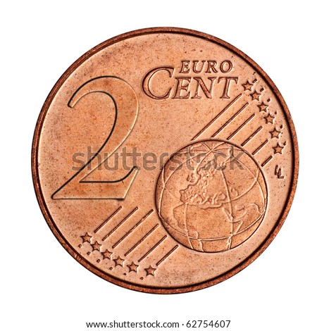 A collage of  2 euro cent coin - stock photo
