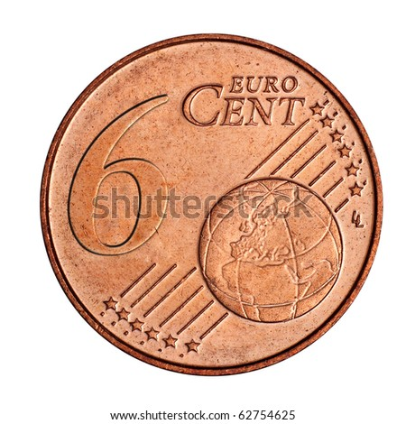 A collage of 6 euro cent coin - stock photo